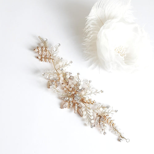 ENRICA Gold Pearl Champagne Bridal Hair Comb