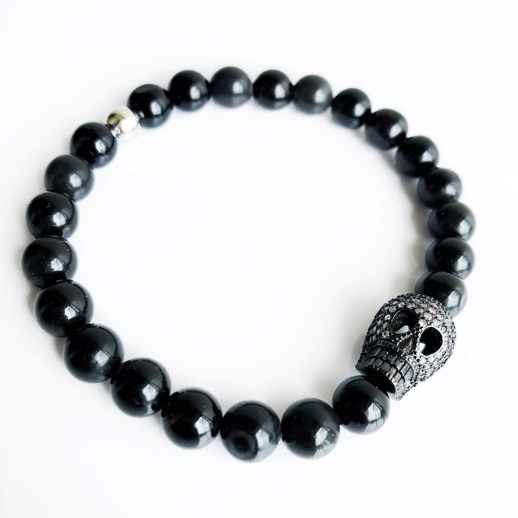 STRENGTH Men's Black Onyx Beaded Bracelet with Cubic Zirconia Crystal Skull