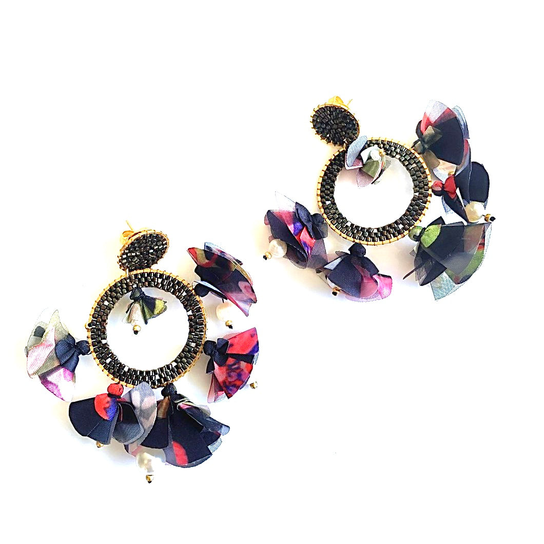 LA CONTESSA Colourful Neoprene Fabric Beaded Earrings