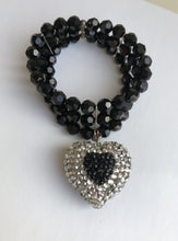 BLACK HEART Swarovski Stretch Bracelet
