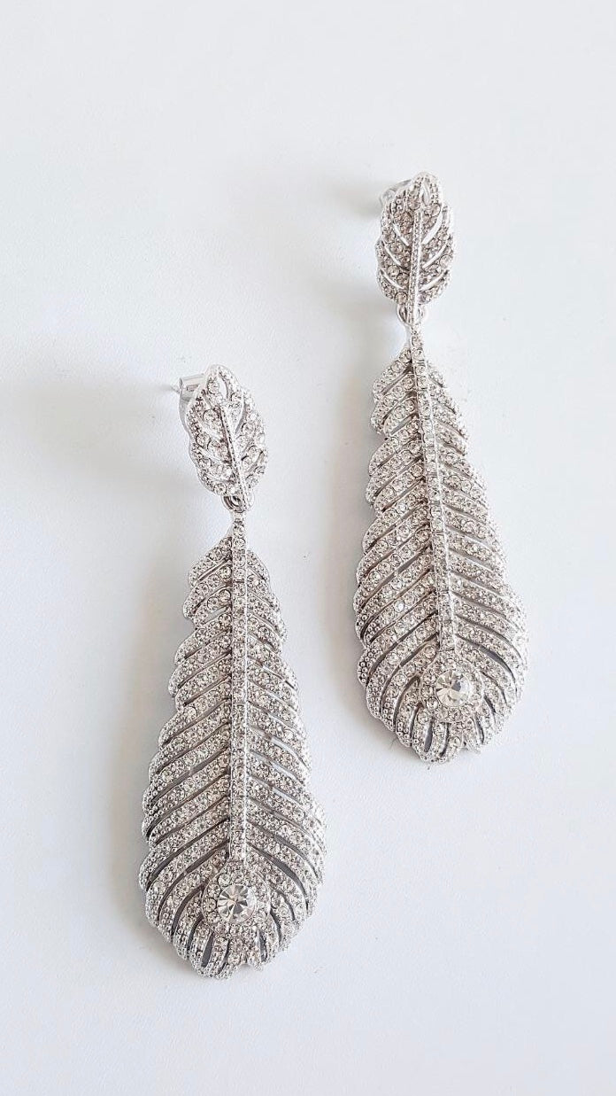 DAWN Cubic Zirconia Crystal Feather Earrings