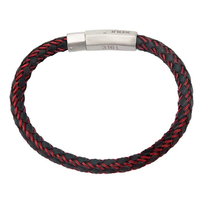 DAMIAN Red Stick Rubber Stainless Steel Cable Bracelet