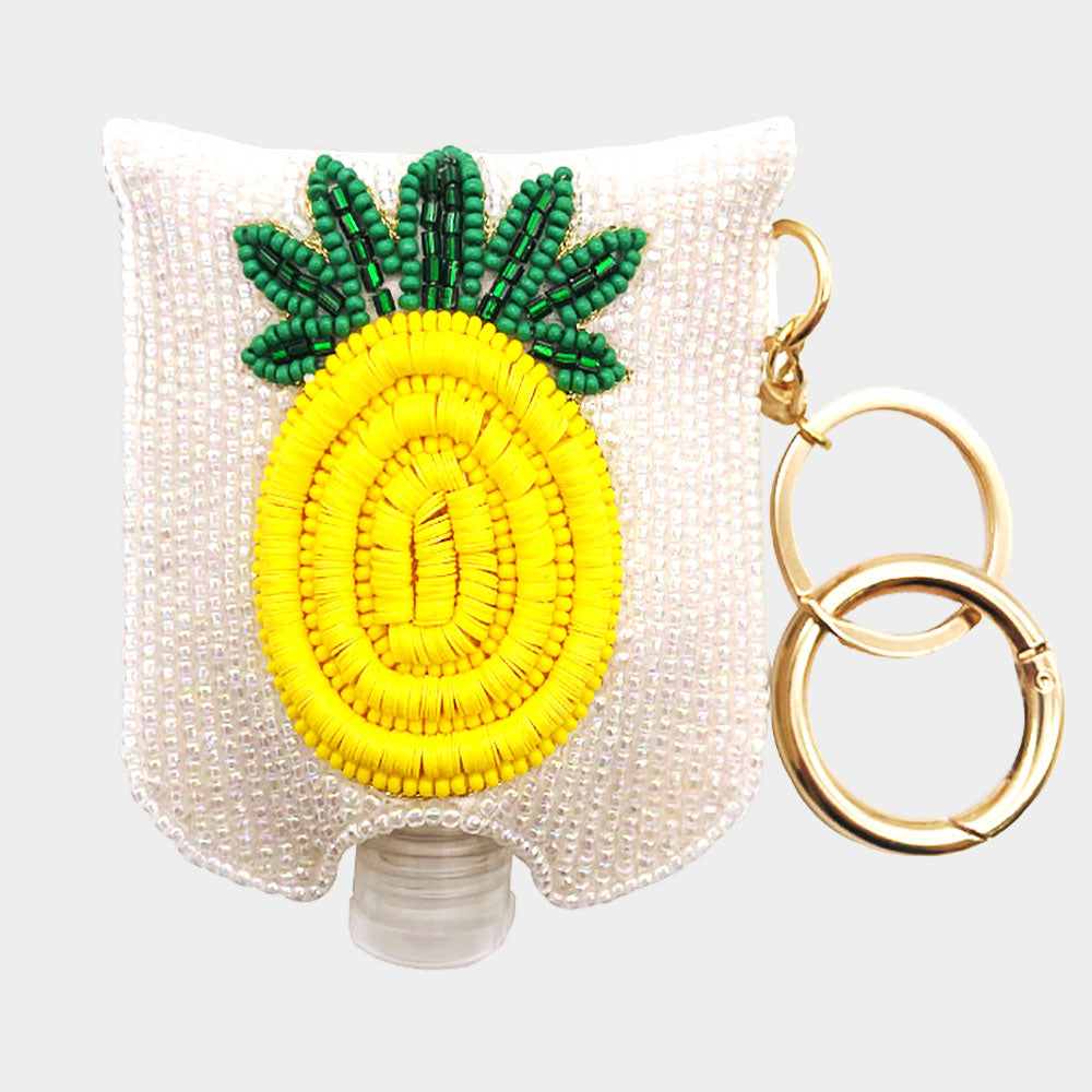 PINEAPPLE Seed Beaded Case with Sanitizer Bottle Keychain