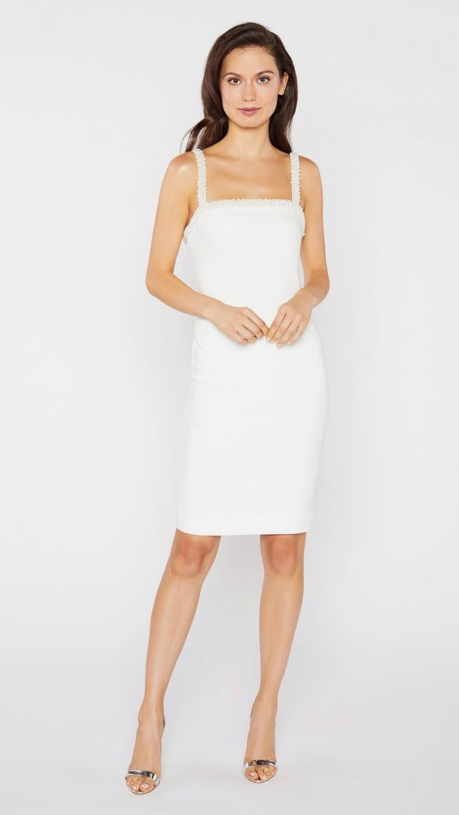BLAINE White Pearl Detailed Strap Sheath Dress