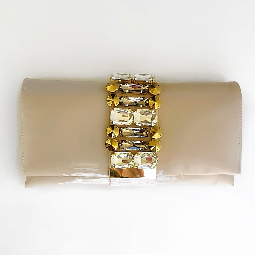 PICK ME Beige Patent Clutch with Crystal Details
