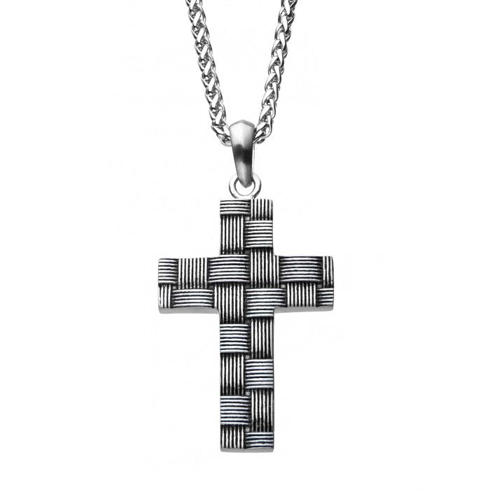 FAITH Men's Woven Stainless Steel Cross Pendant