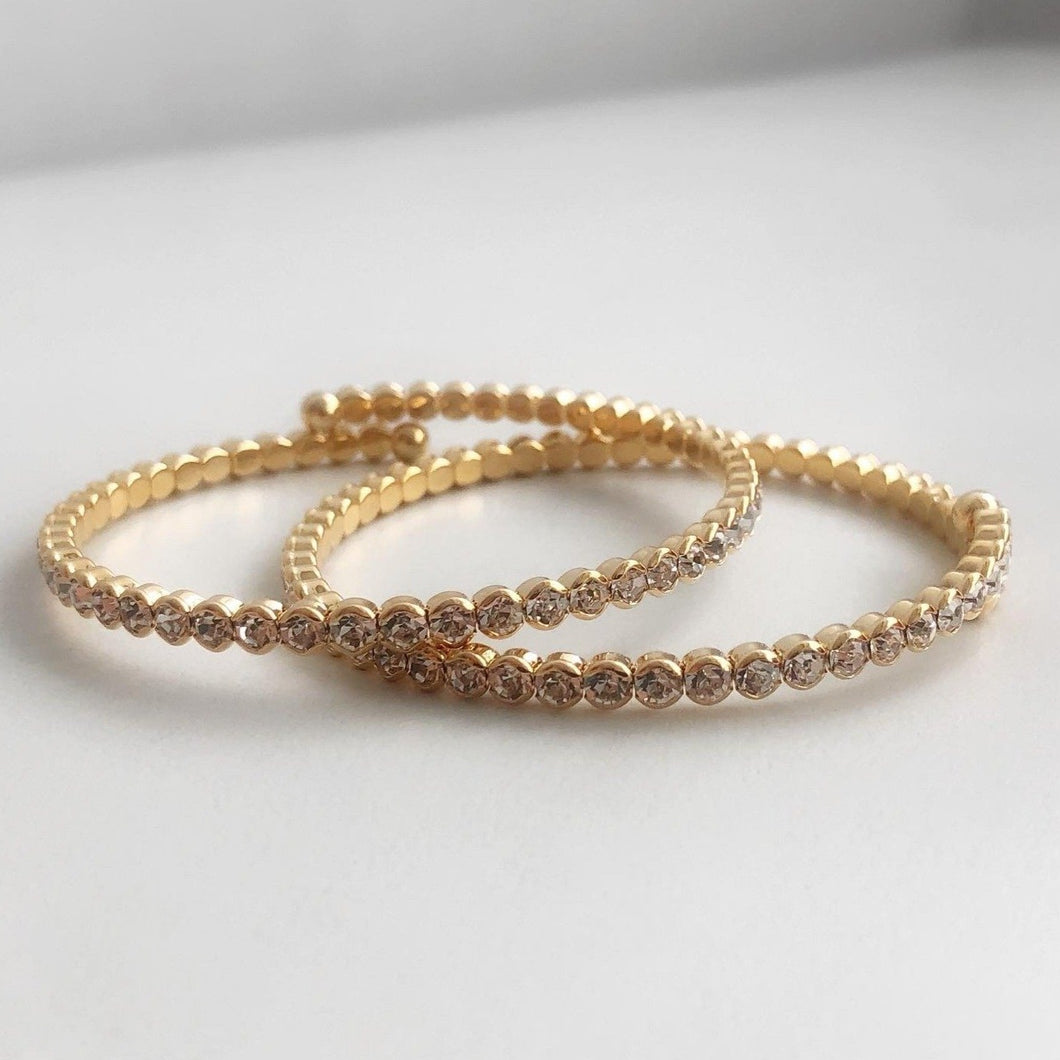 WIRE LINE Crystal Bracelets in 3 Colour Variants