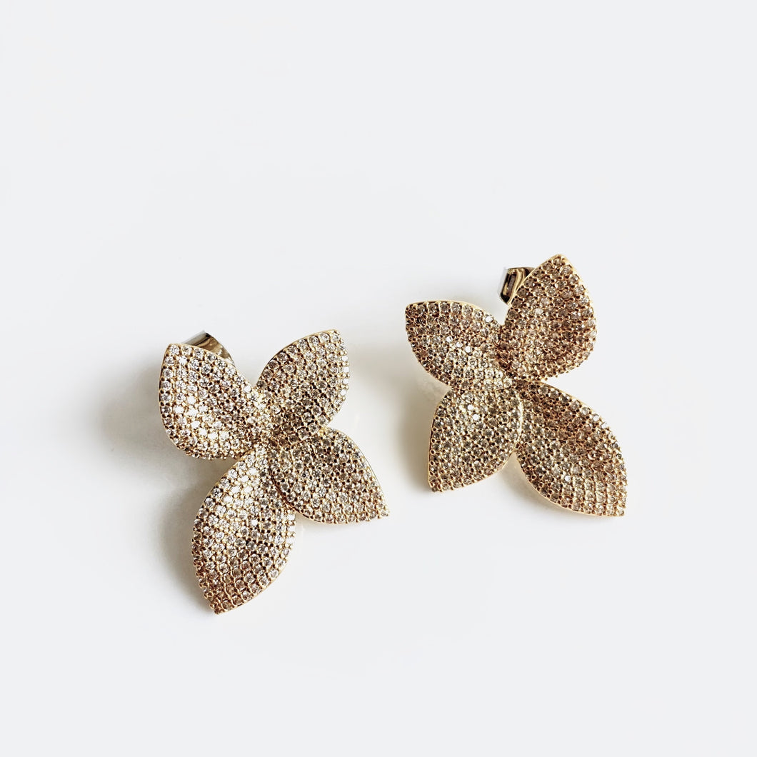 LILIANA 4-Petal Crystal Pave Stud Earrings
