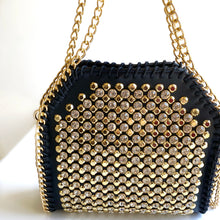 NELLIE Black Canvas Crystal and Gold Studded Bag with Chain Border