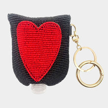 HEART Seed Beaded Case with Sanitizer Bottle Keychain