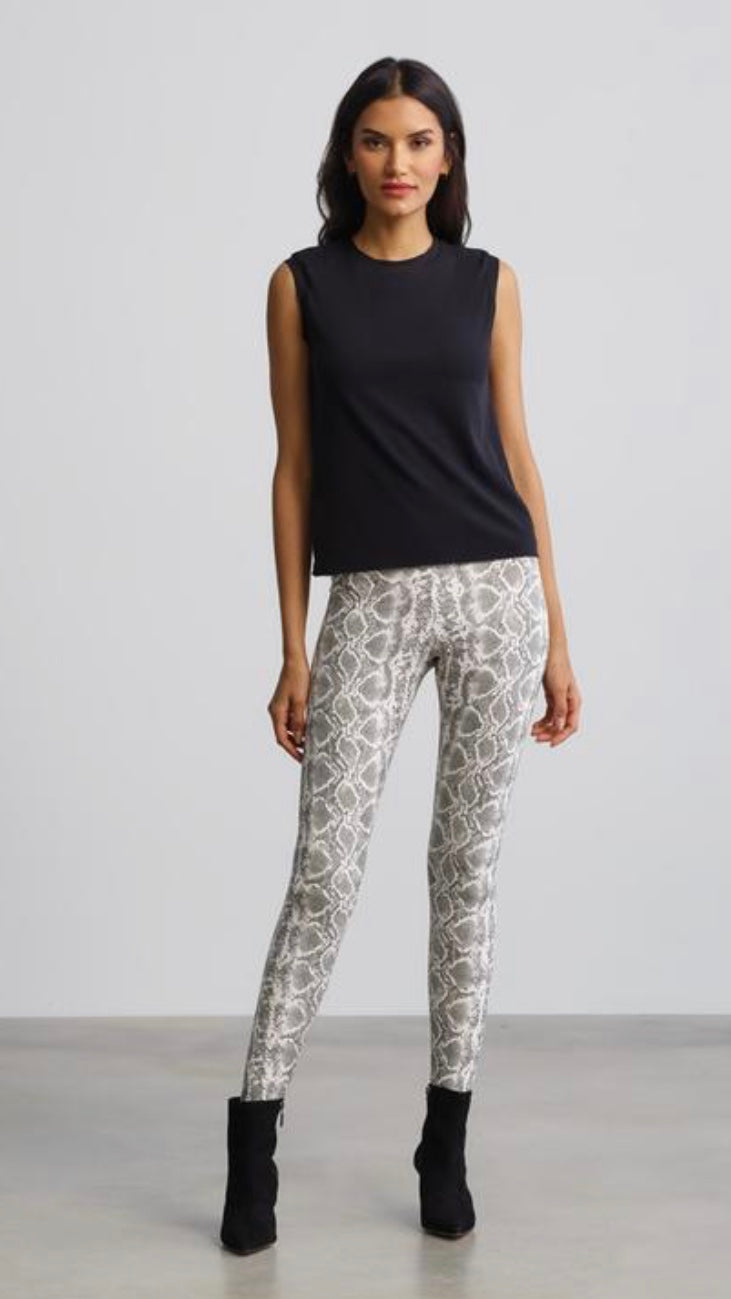 White Snake Faux Leather Leggings