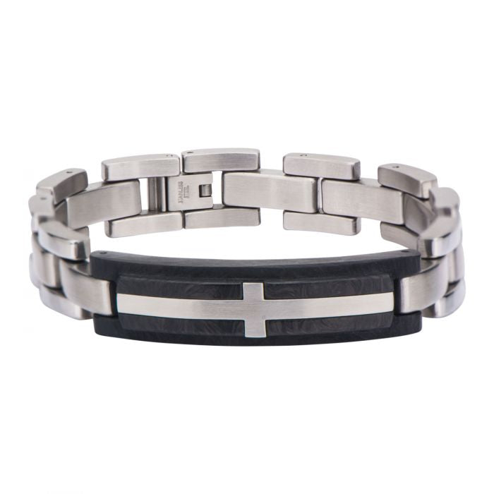 CARBON Men's Silver Stainless Steel Bracelet with Carbon Graphite