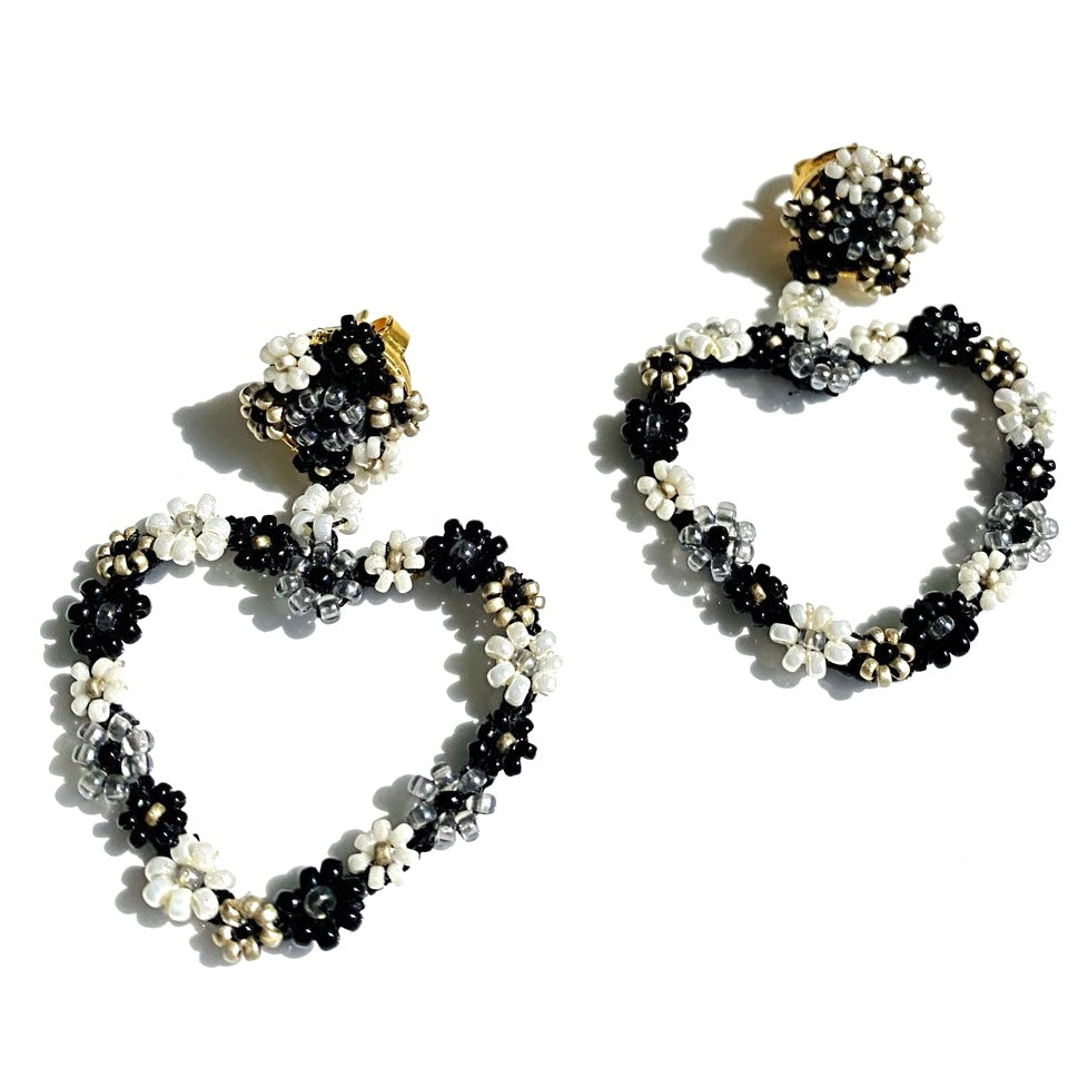 HEART BREAKER Floral Beaded Heart Shaped Earrings