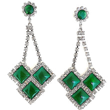 ARIANA Jade Green Cabochon Swarovski Crystal Statement Earrings