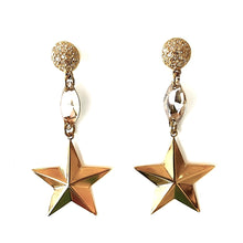 STARLIGHT Metal Star Drop Earrings With Swarovski Details