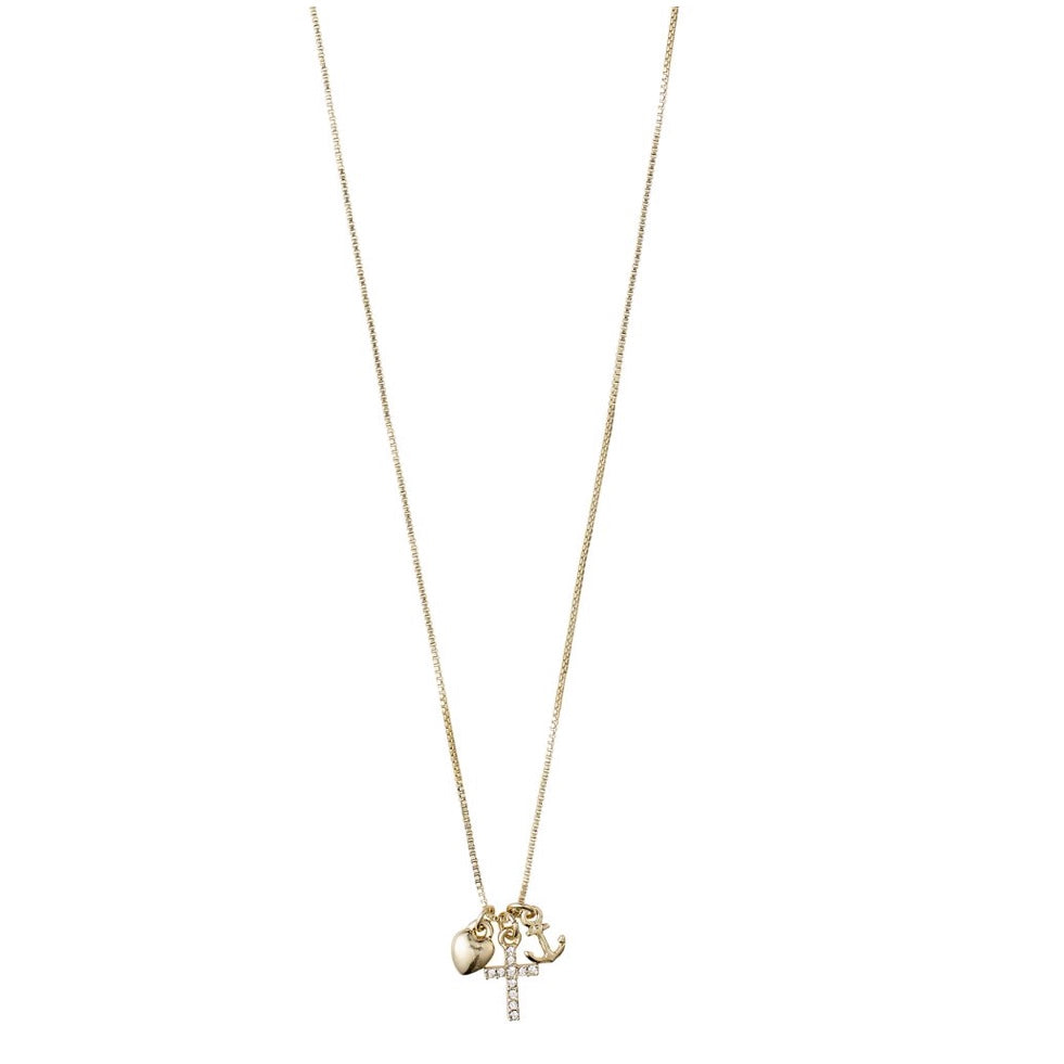ANET Gold Cross, Heart and Anchor Charm Necklace