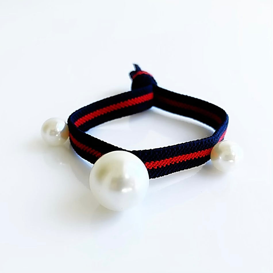 Gucci Style Red Stripe Navy Hair Tie Bracelet