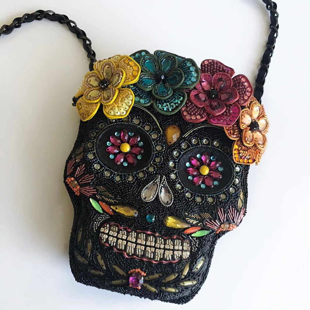 DEAD OF NIGHT Beaded Sugar Skull Crossbody Handbag