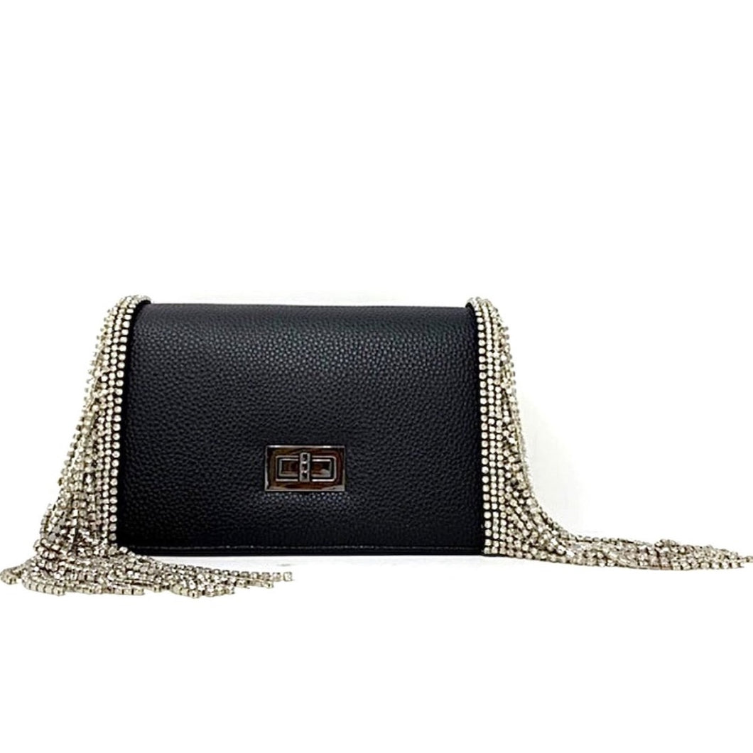 CARDI Texturized Black Canvas Bag with Crystal Fringe