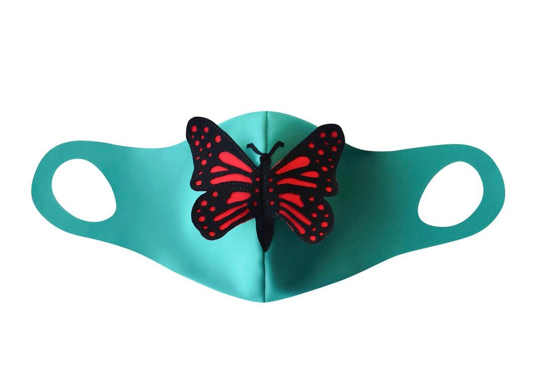 Teal Butterfly Face Mask with Filter Pocket