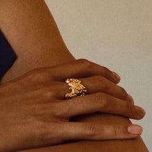 Los Angeles Adjustable Gold Textured Ring with Crystal Details