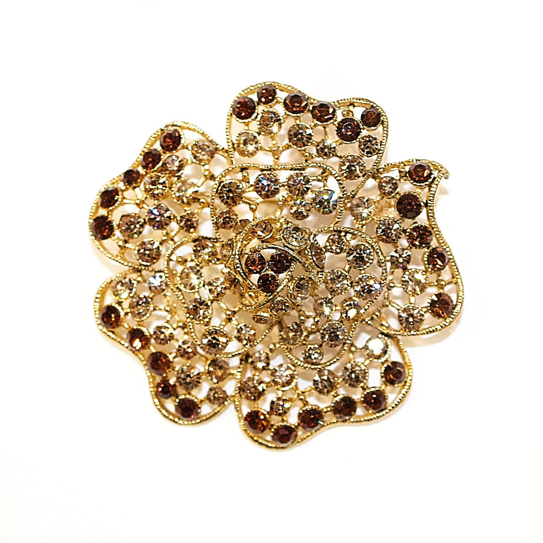 ROSINA Topaz Crystal Gold Plated Broach