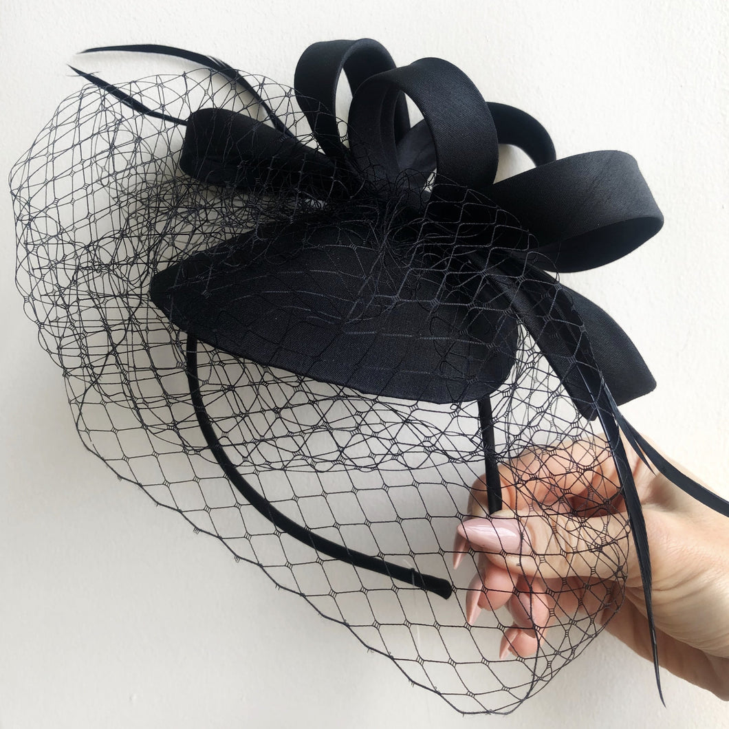 RALPH Black Silk Fascinator with Netting