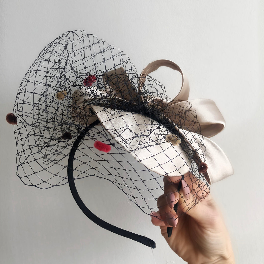 RALPH Champagne Silk Fascinator with Black Dotted Netting
