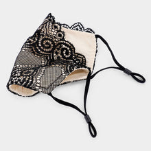 BLACK LACE Face Mask with Nude Underlay and Scallop