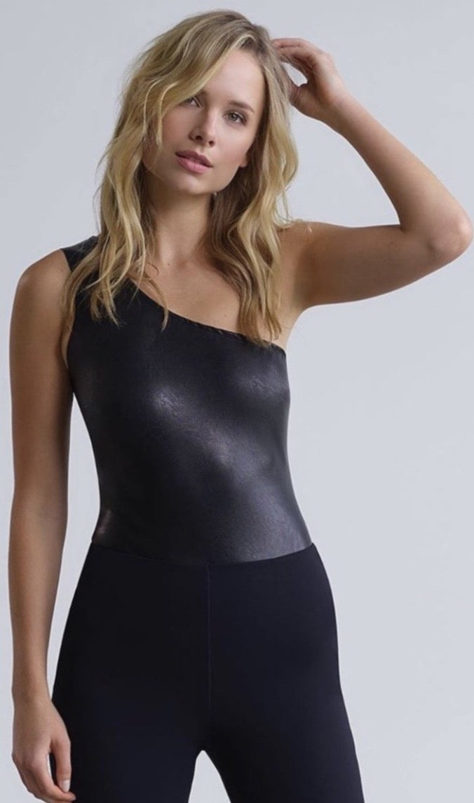 Faux Leather One Shoulder Bodysuit