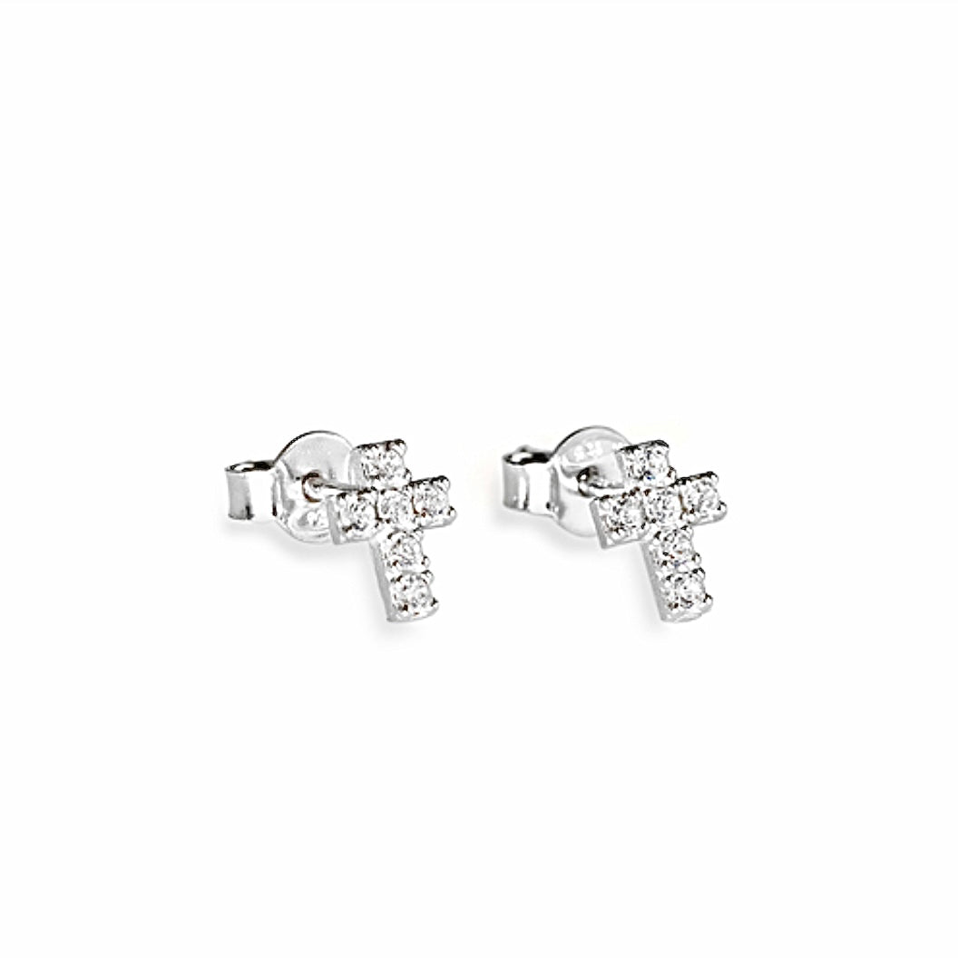 CUBIC ZIRCONIA Silver Cross Stud Earrings - Amen Collection
