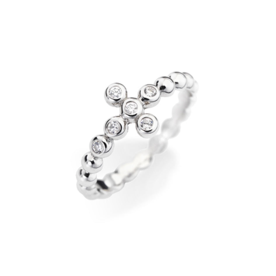 CROSS Embezzled Cubic Zirconia 925 Sterling Silver Plated Ring - Amen Collection
