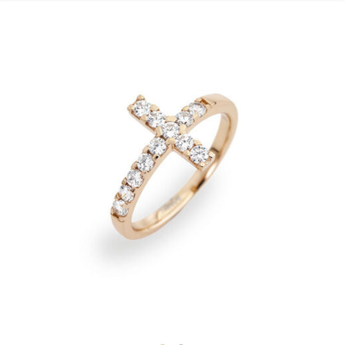 CROSS Cubic Zirconia 925 Sterling Silver Gold Plated Ring - Amen Collection