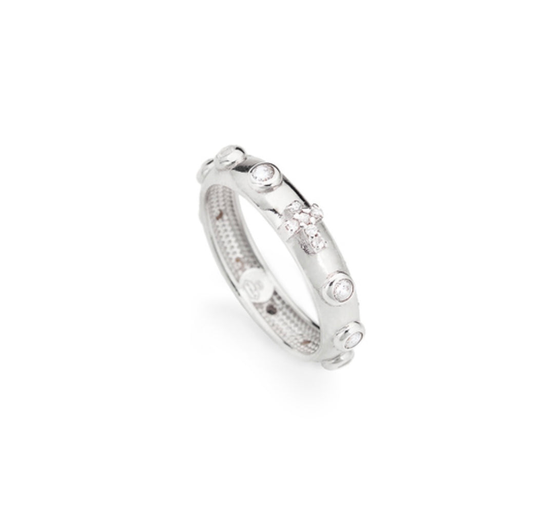 ROSARY Cubic Zirconia 925 Sterling Silver Plated Ring - Amen Collection