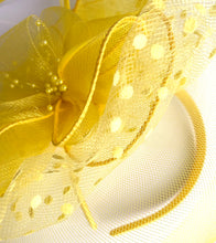 LEMON TEA Yellow Fabric Fascinator with Feather and Netting
