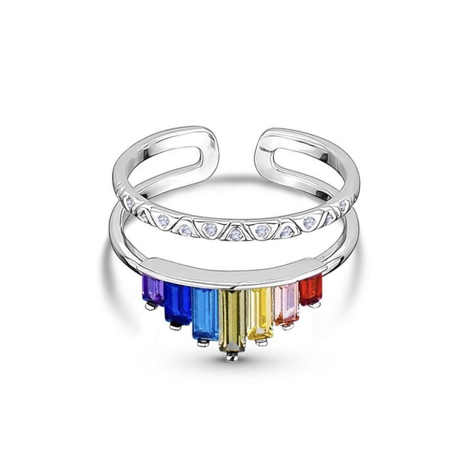 RAINBOW CROWN Adjustable Crystal Baguette Ring in Gold or Silver