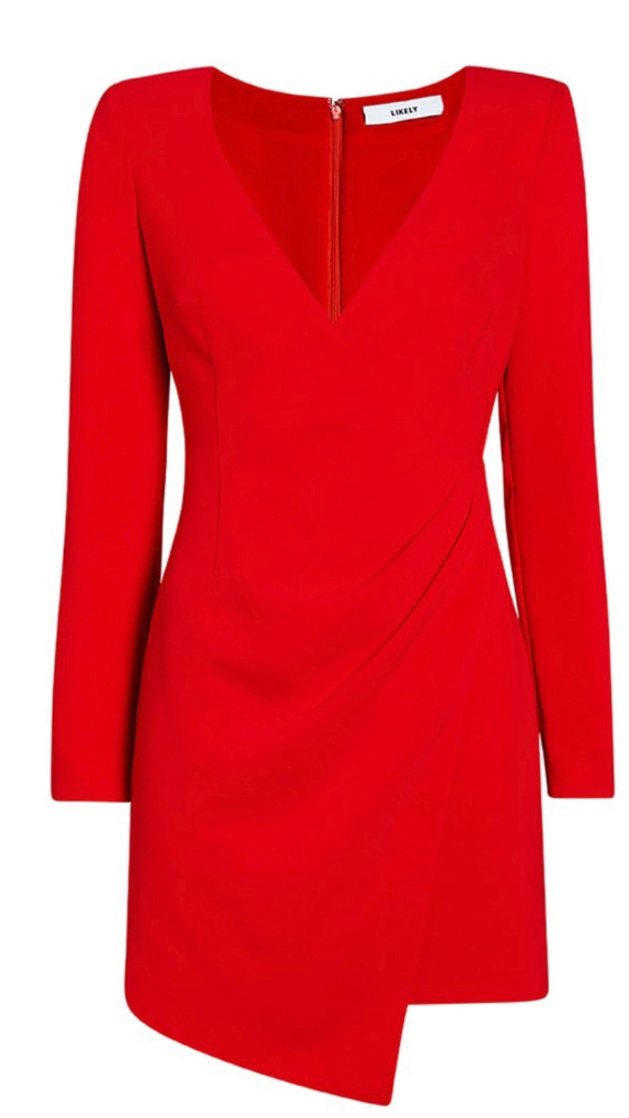 DANI Fitted V-Neck Dress in Red or Black