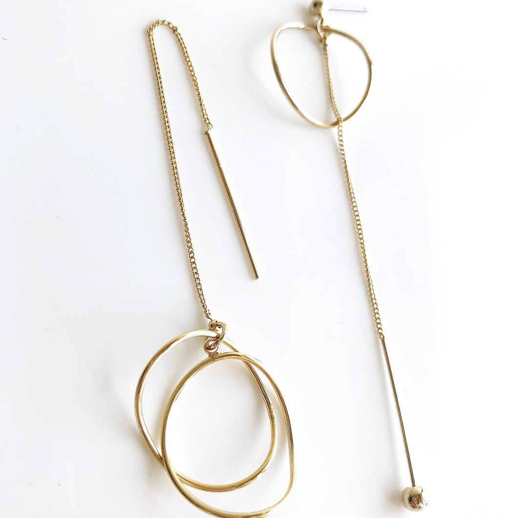 JULIE Asymmetrical Gold Line Threader Earrings