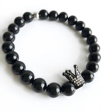 KING Men's Black Agate Beaded Stretch Bracelet
