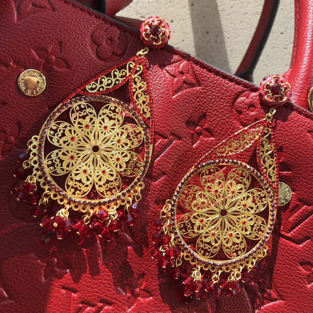 FIERCE Bohemian Red Swarovski Gold Filigree Earrings