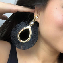KATERINA Black Silk Fabric Fringe Gold Swarovski Earrings