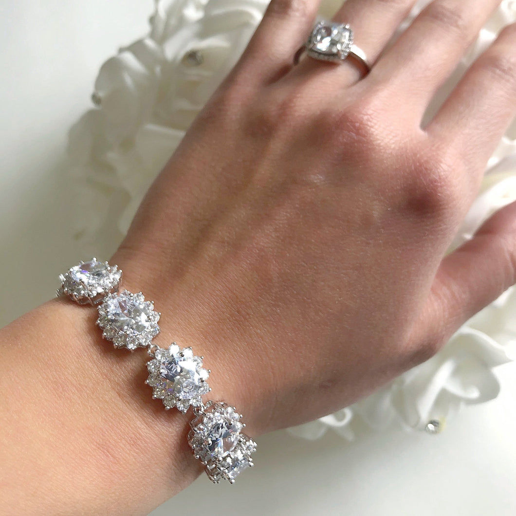 VIANNA Cubic Zirconia Crystal Rhodium Silver Plated Bracelet