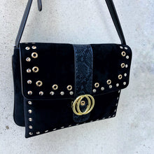 CAMDEN Faux Suede Purse with Gold Hardware Detailing