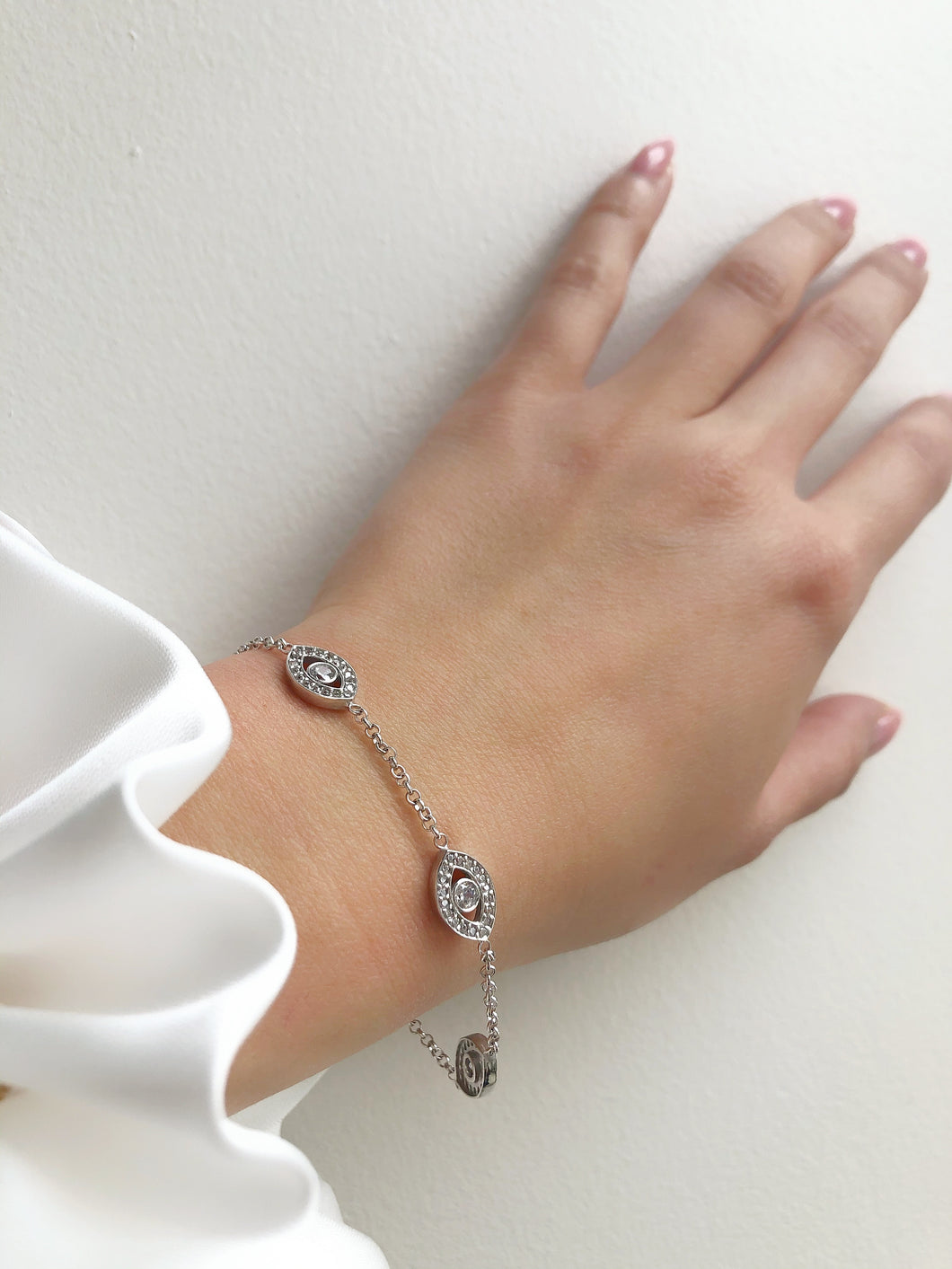 PROTECTIVE EYE Sterling Silver Chain Bracelet in 3 Colour Variants