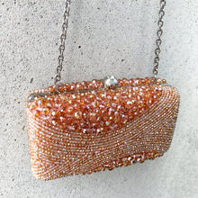 SUNSET Crystal Beaded Orange Clutch