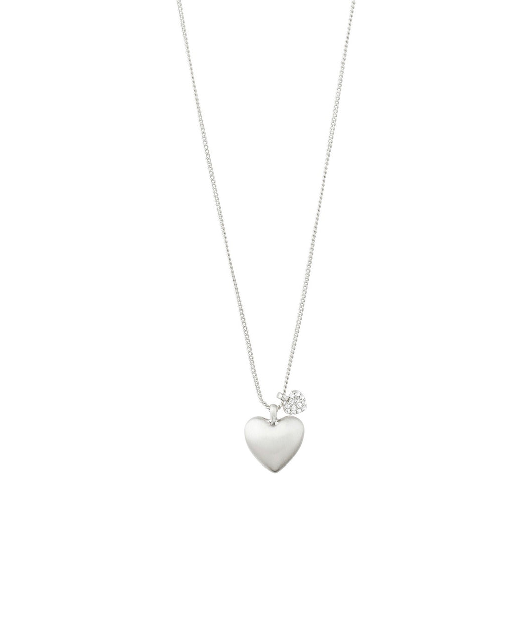 HEART ALWAYS Brushed Crystal Charm Necklace