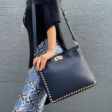 VALORIE Navy Faux Leather Gold Studded Day Bag