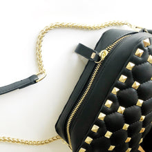 VICKY Black Faux Leather Gold Studded Cross Body Bag