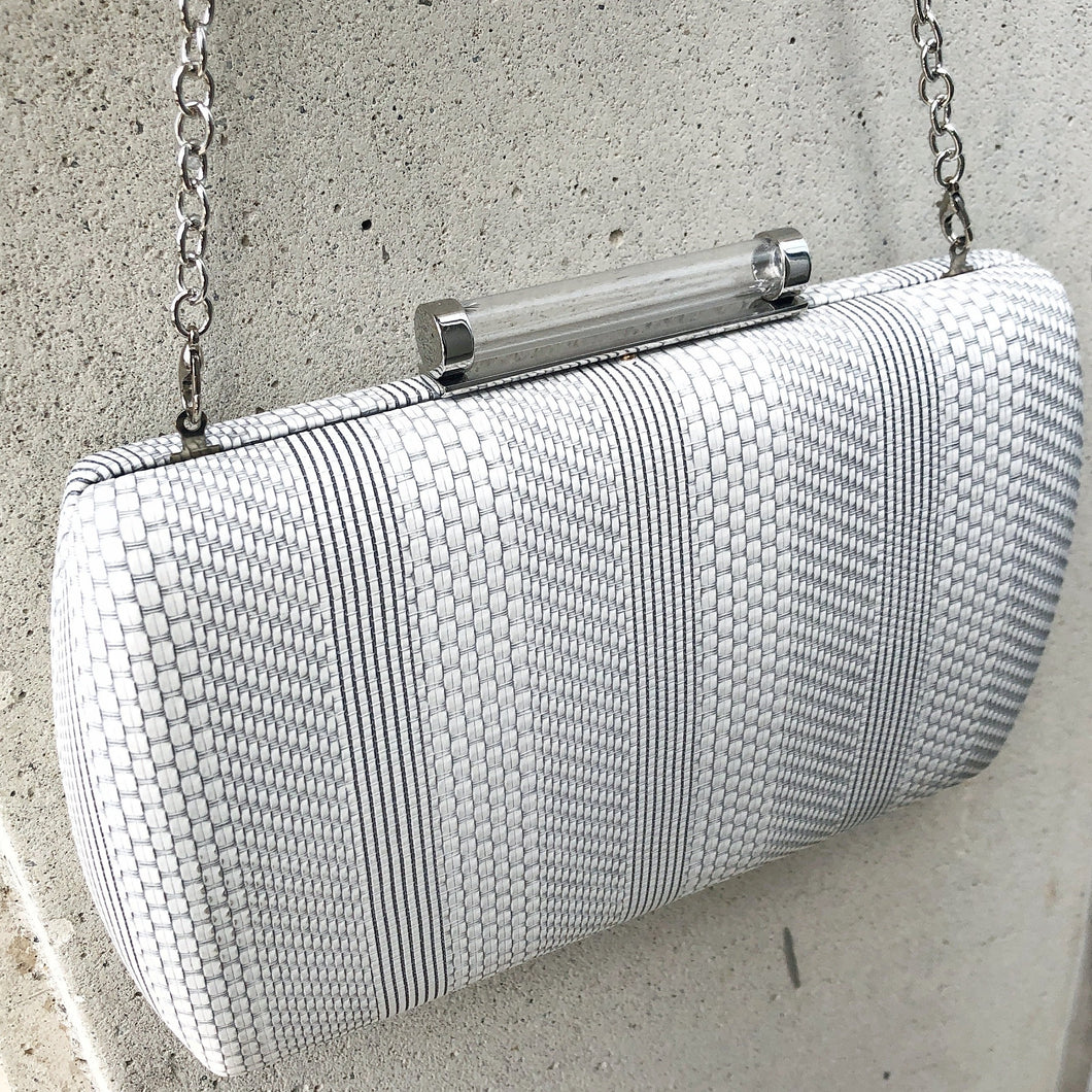 ANGEL White Canvas Clutch Bag with Grey Detail