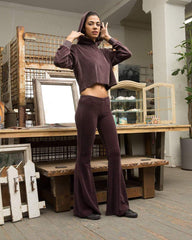 Plum Velour Wide Leg Pants